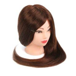 Tete à coiffer 50% vrais cheveux humains Formation brun foncé - Neverland